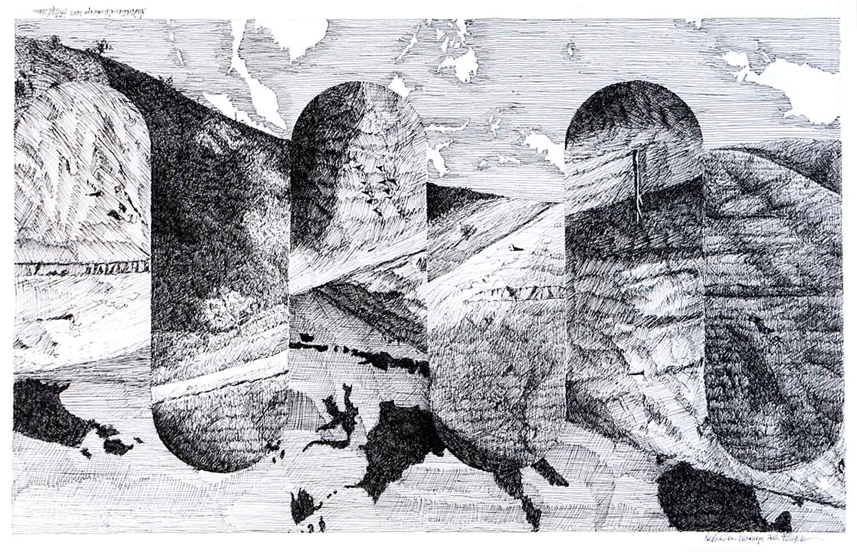 Bert-Flugelman-Australian-Landscape-Indian-ink-and-pen